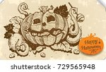 halloween pumpkin sketch.... | Shutterstock .eps vector #729565948