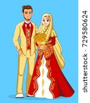 muslim wedding with gold and... | Shutterstock .eps vector #729580624