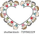 cartoon kids with heart shape... | Shutterstock .eps vector #729582229