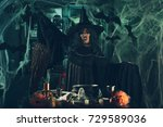 witch with awfully face and hat ... | Shutterstock . vector #729589036