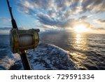 deep sea fishing reel on a boat ... | Shutterstock . vector #729591334