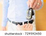 male adult dealer hand giving...   Shutterstock . vector #729592450