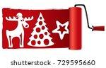 christmas paint roller | Shutterstock .eps vector #729595660