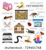 pet appliance icon set flat... | Shutterstock .eps vector #729601768