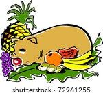 retro tropical roasted luau pig ...   Shutterstock .eps vector #72961255