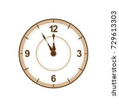wall clock showing five minutes ...   Shutterstock .eps vector #729613303