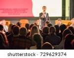 audience listens to the... | Shutterstock . vector #729629374