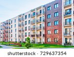 complex of new apartment... | Shutterstock . vector #729637354