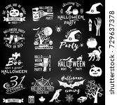 set of halloween party concept... | Shutterstock .eps vector #729637378