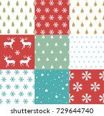 seamless pattern with christmas ... | Shutterstock .eps vector #729644740