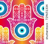 background with ornate  hamsa ... | Shutterstock .eps vector #729651334