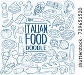 italian food doodles icon... | Shutterstock .eps vector #729651520