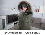 young man with warm clothing... | Shutterstock . vector #729654838