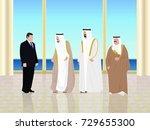 meeting arab european | Shutterstock .eps vector #729655300