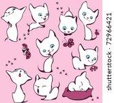 collection of white kittens.... | Shutterstock .eps vector #72966421