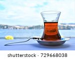 turkish tea is served in a cafe ... | Shutterstock . vector #729668038