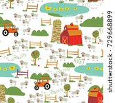 seamless vector pattern with... | Shutterstock .eps vector #729668899