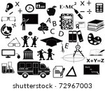education black icon set for...