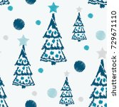embroidery seamless pattern... | Shutterstock .eps vector #729671110