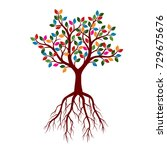 beautiful tree with roots and... | Shutterstock .eps vector #729675676