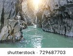 gorge of alcantara. the island... | Shutterstock . vector #729687703