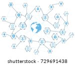 global network connection ... | Shutterstock .eps vector #729691438