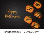 halloween cookies in the shape... | Shutterstock . vector #729692494