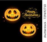 vector happy halloween. set... | Shutterstock .eps vector #729692710