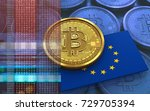 3d illustration of bitcoin over ... | Shutterstock . vector #729705394