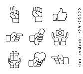 hand gestures icon set | Shutterstock .eps vector #729705523