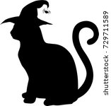 Black Silhouette Of Cat In...