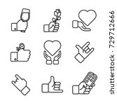 hand gestures icon set | Shutterstock .eps vector #729712666