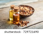 a bottle of myrrh essential oil ... | Shutterstock . vector #729721690