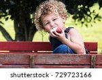 a little boy is sitting in a... | Shutterstock . vector #729723166