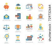 vector business financial icons ... | Shutterstock .eps vector #729732664