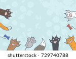 cat paws background vector | Shutterstock .eps vector #729740788