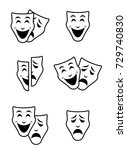 theater mask symbols vector set ... | Shutterstock .eps vector #729740830