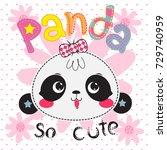 Stock vector cartoon cute panda girl head on pink flower background illustration vector 729740959