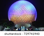 Small photo of SPHERE OF EPCOT CENTER, ORLANDO, JULY, 2016. View of the beautiful and imposing colored sphere located at the entrance of Epcot Center. Editorial photo