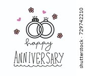 happy anniversary ring vector... | Shutterstock .eps vector #729742210