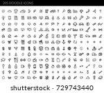 vector doodle icons universal... | Shutterstock .eps vector #729743440