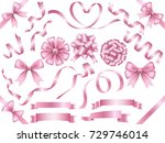 a set of various pink ribbons ... | Shutterstock .eps vector #729746014