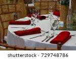 wedding event table arrangement ... | Shutterstock . vector #729748786