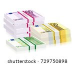 euro banknotes stacks on a... | Shutterstock .eps vector #729750898