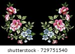 flower embroidery  floral... | Shutterstock .eps vector #729751540