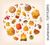 colorful autumn elements and... | Shutterstock .eps vector #729752893