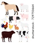 farm animals set | Shutterstock .eps vector #729753664