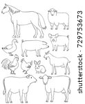 farm animals line art set | Shutterstock .eps vector #729753673
