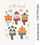 set of christmas woodland cute... | Shutterstock .eps vector #729759160