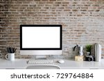 loft workspace concept. mock up ... | Shutterstock . vector #729764884